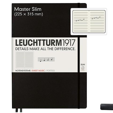 Notizbuch Master Slim (A4+), Hardcover, 123 nummerierte Seiten, Schwarz, Notenlinien