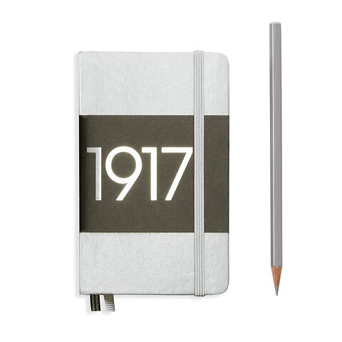 Notizbuch Pocket (A6), Hardcover, 187 nummerierte Seiten, Silber, Liniert