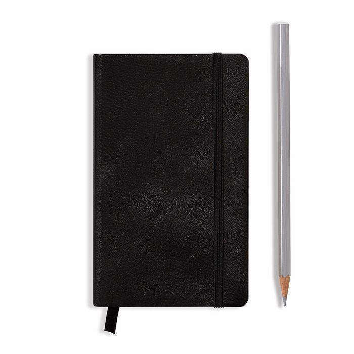 Notizbuch Pocket (A6), Echtleder, 187 nummerierte Seiten, Schwarz, Kariert