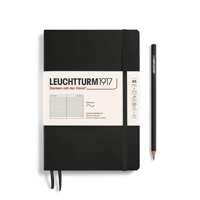 Notizbuch Medium (A5), Softcover, 123 nummerierte Seiten, Schwarz, Liniert