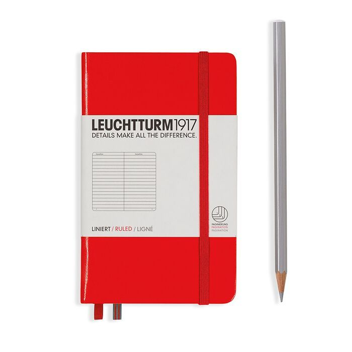 Notizbuch Pocket (A6), Hardcover, 187 nummerierte Seiten, Rot, Liniert