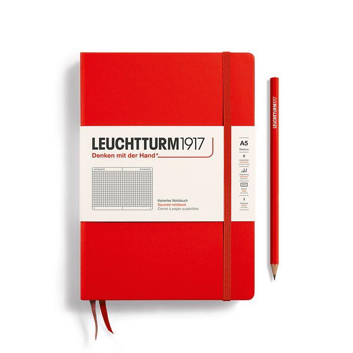 Notizbuch Medium (A5), Hardcover, 251 nummerierte Seiten, Rot, Kariert