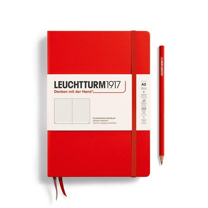 Notizbuch Medium (A5), Hardcover, 251 nummerierte Seiten, Rot, Dotted