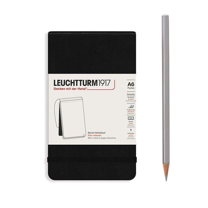 Notizblock Pocket (A6), Hardcover, 94 nummerierte Seiten, Schwarz, Blanko