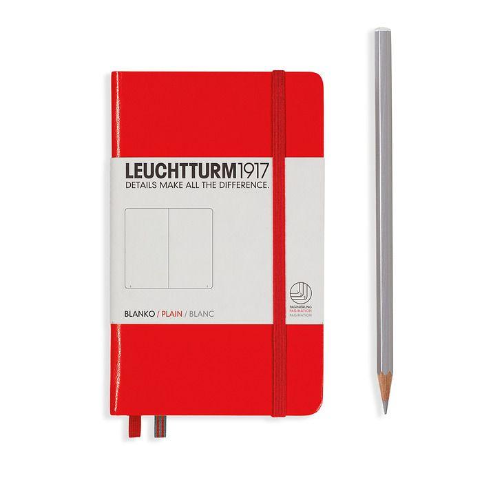Notizbuch Pocket (A6), Hardcover, 187 nummerierte Seiten, Rot, Blanko
