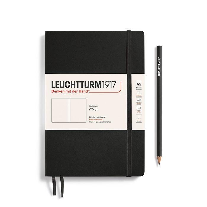 Notizbuch Medium (A5), Softcover, 123 nummerierte Seiten, Schwarz, Blanko