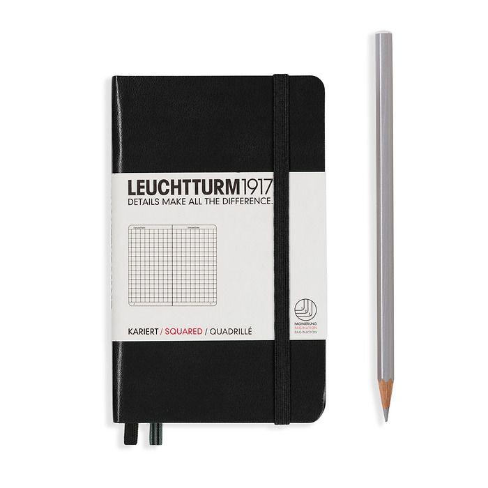 Notizbuch Pocket (A6), Hardcover, 187 nummerierte Seiten, Schwarz, Kariert