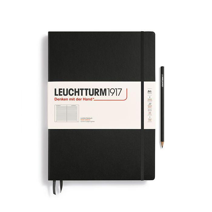 Notizbuch Master Classic (A4+), Hardcover, 233 nummerierte Seiten, Schwarz, Liniert