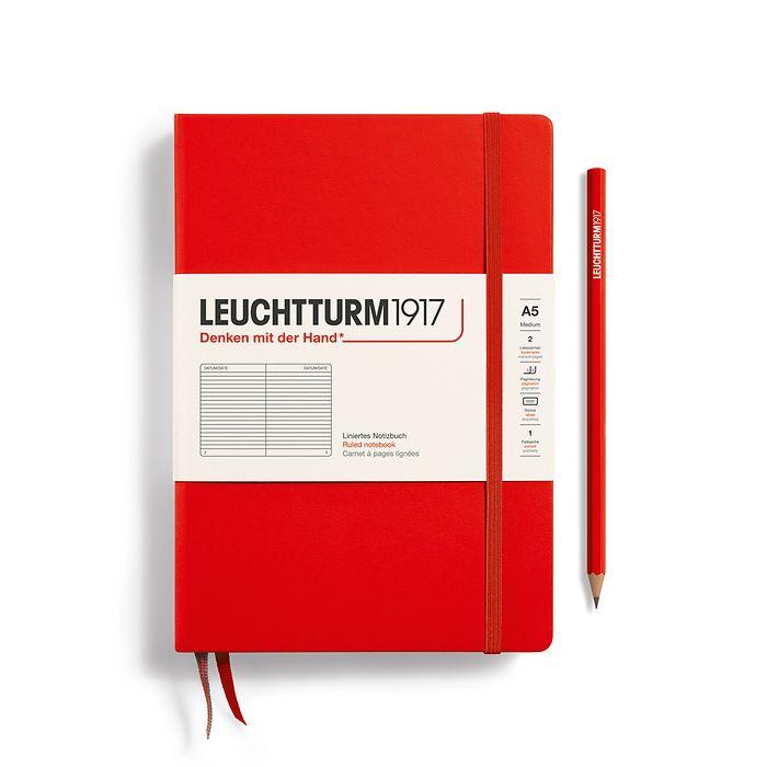 Notizbuch Medium (A5), Hardcover, 251 nummerierte Seiten, Rot, Liniert