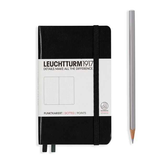 Notizbuch Pocket (A6), Hardcover, 187 nummerierte Seiten, Schwarz, Dotted