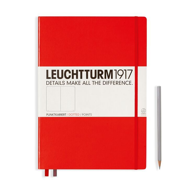 Notizbuch Master Classic (A4+), Hardcover, 233 nummerierte Seiten, Rot, Dotted