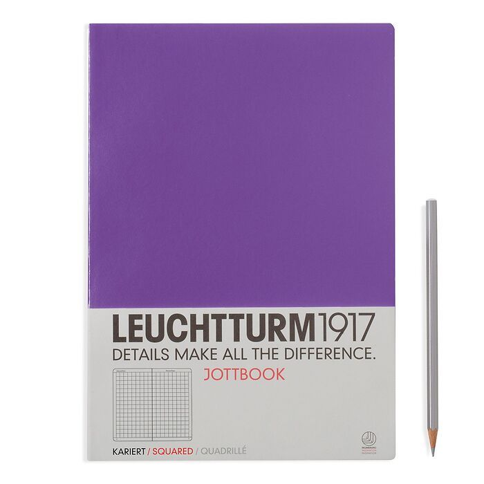 Jottbook Master (A4), 60 nummerierte Seiten, 16 Blatt perforiert, Lila, Kariert