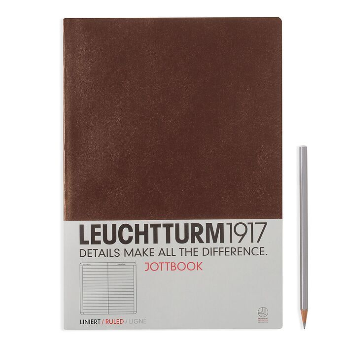 Jottbook Master (A4), 60 nummerierte Seiten, 16 Blatt perforiert, Schokolade, Liniert