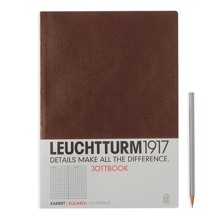 Jottbook Master (A4), 60 nummerierte Seiten, 16 Blatt perforiert, Schokolade, Kariert