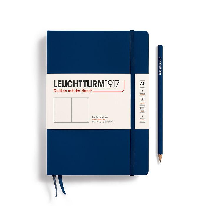 Notizbuch Medium (A5), Hardcover, 251 nummerierte Seiten, Marine, Blanko