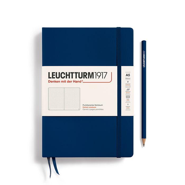 Notizbuch Medium (A5), Hardcover, 251 nummerierte Seiten, Marine, Dotted