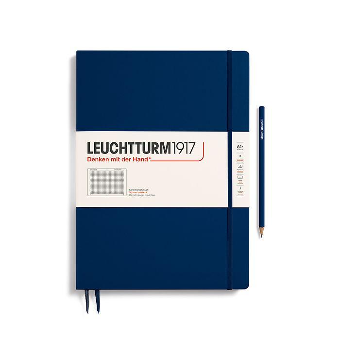 Notizbuch Master Slim (A4+), Hardcover, 123 nummerierte Seiten, Marine, Kariert