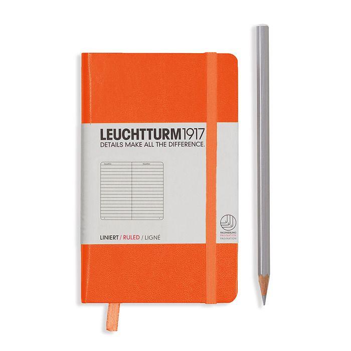 Notizbuch Pocket (A6), Hardcover, 187 nummerierte Seiten, Orange, Liniert