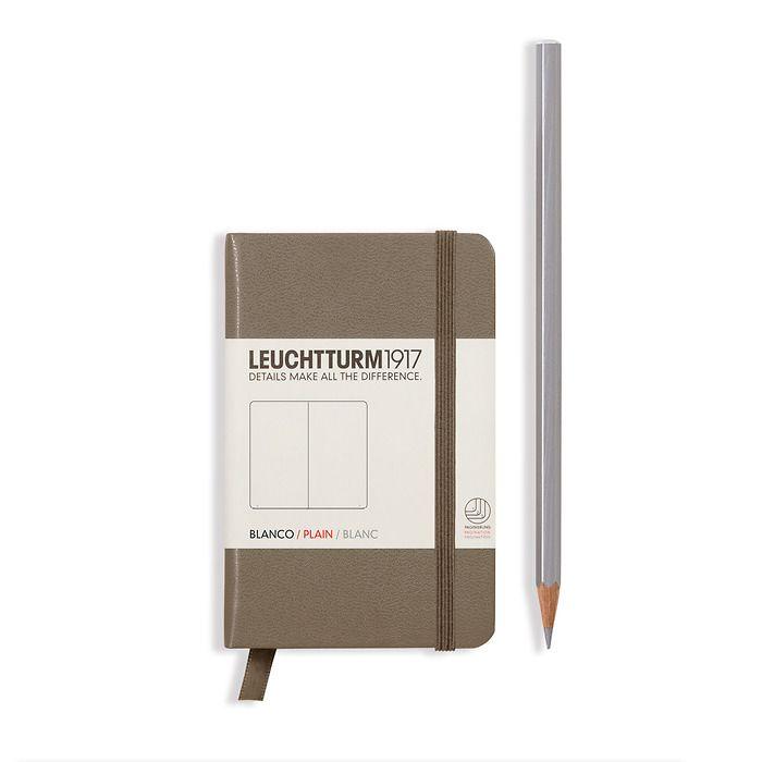 Notizbuch Mini (A7), Hardcover, 169 nummerierte Seiten, Taupe, Blanko