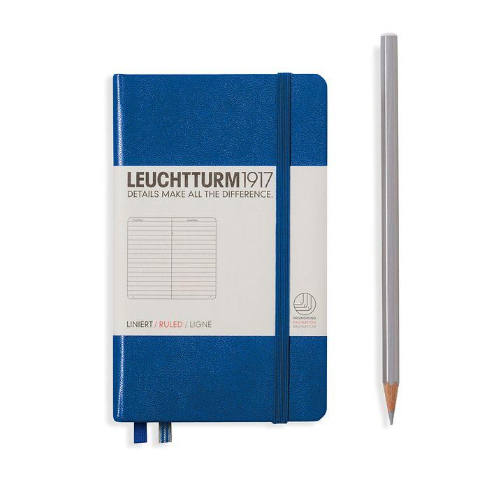 Notizbuch Pocket (A6), Hardcover, 187 nummerierte Seiten, Königsblau, Liniert