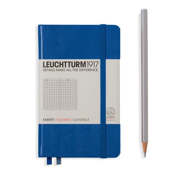 Notizbuch Pocket (A6), Hardcover, 187 nummerierte Seiten, Königsblau, Kariert