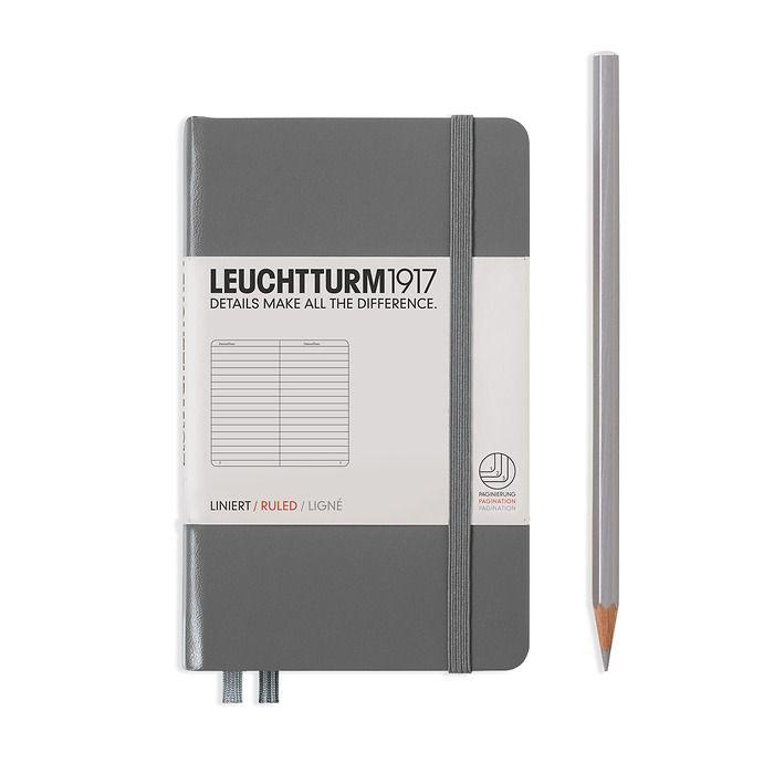 Notizbuch Pocket (A6), Hardcover, 187 nummerierte Seiten, Anthrazit, Liniert