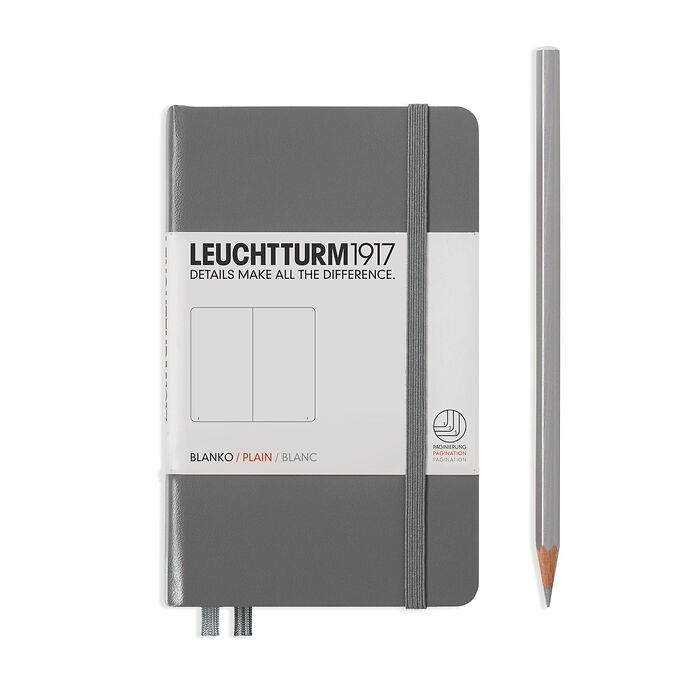 Notizbuch Pocket (A6), Hardcover, 187 nummerierte Seiten, Anthrazit, Blanko