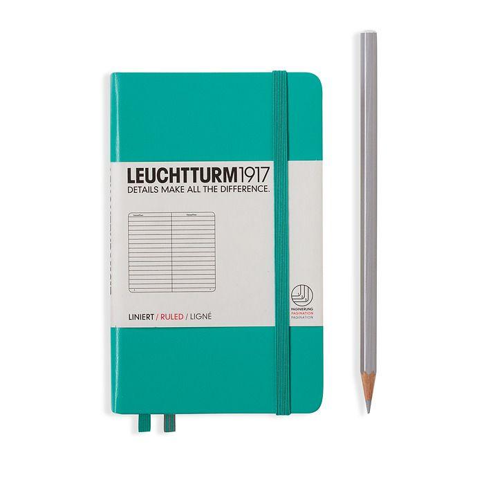Notizbuch Pocket (A6), Hardcover, 187 nummerierte Seiten, Smaragd, Liniert