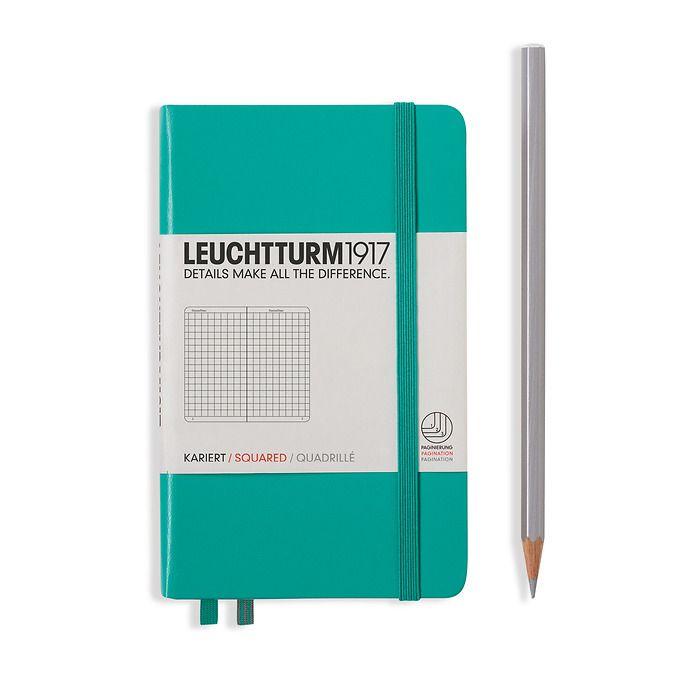 Notizbuch Pocket (A6), Hardcover, 187 nummerierte Seiten, Smaragd, Kariert