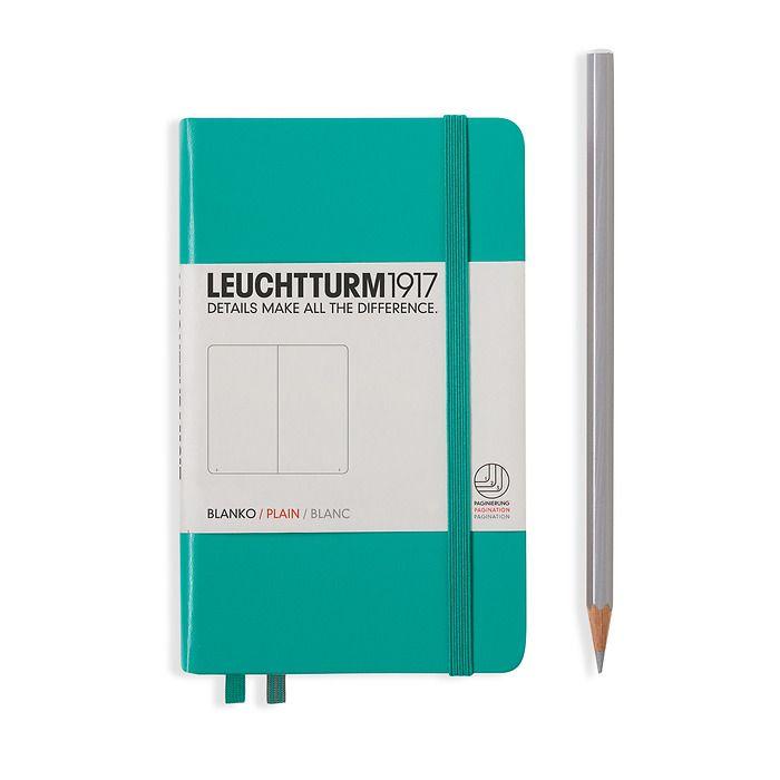 Notizbuch Pocket (A6), Hardcover, 187 nummerierte Seiten, Smaragd, Blanko