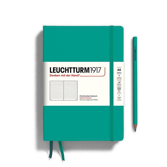 Notizbuch Medium (A5), Hardcover, 251 nummerierte Seiten, Smaragd, Dotted