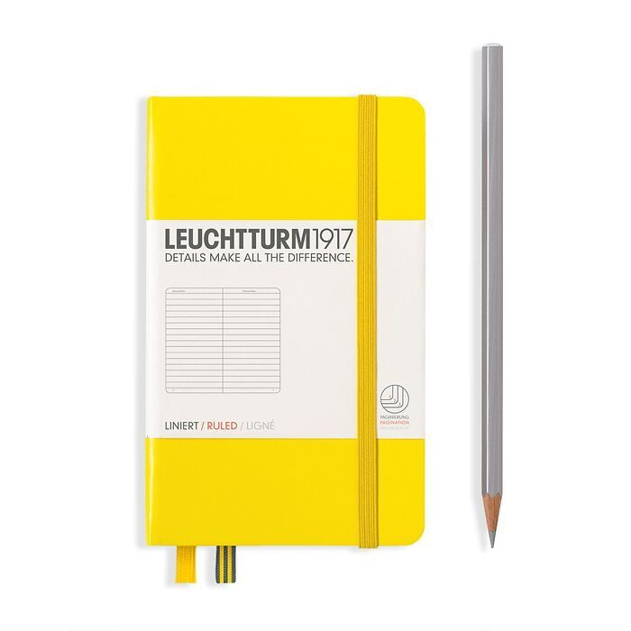 Notizbuch Pocket (A6), Hardcover, 187 nummerierte Seiten, Zitrone, Liniert