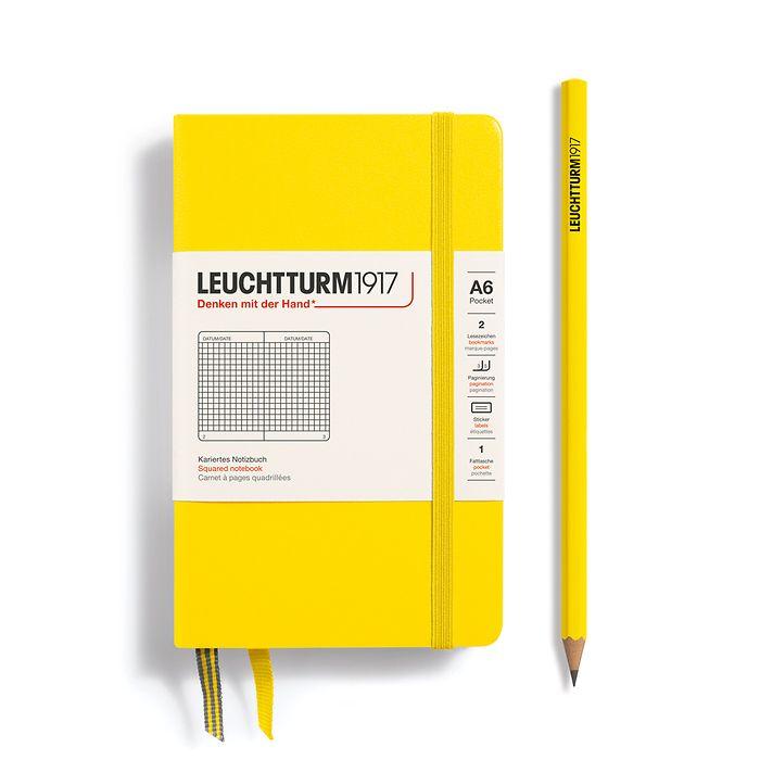 Notizbuch Pocket (A6), Hardcover, 187 nummerierte Seiten, Zitrone, Kariert