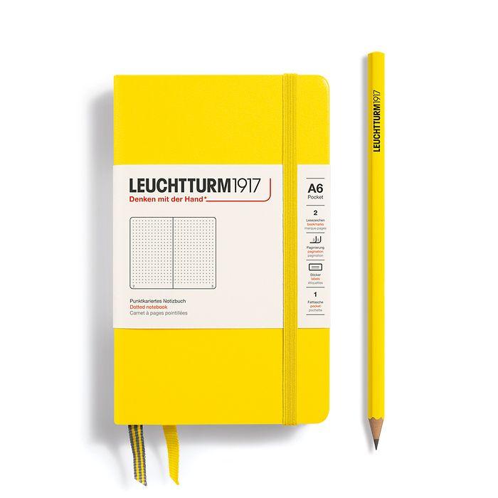 Notizbuch Pocket (A6), Hardcover, 187 nummerierte Seiten, Zitrone, Dotted