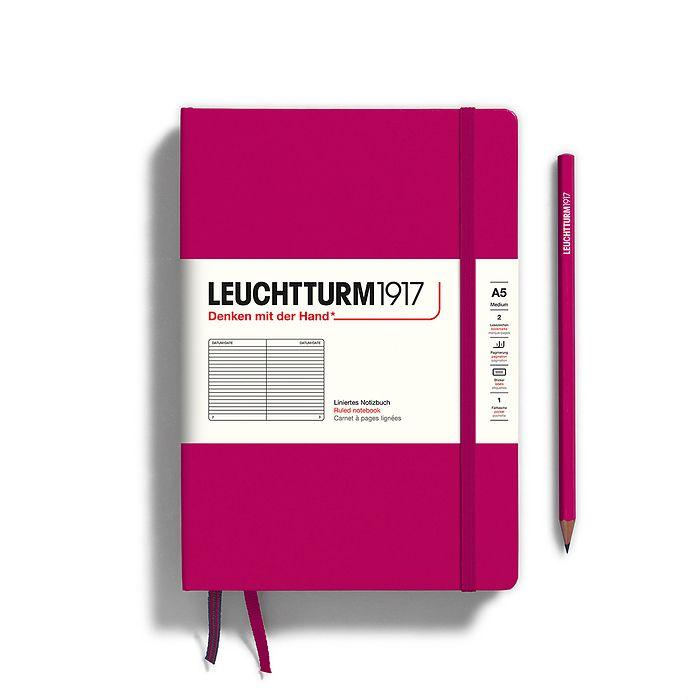 Notizbuch Medium (A5), Hardcover, 251 nummerierte Seiten, Beere, Liniert