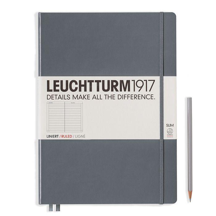 Notizbuch Master Slim (A4+), Hardcover, 123 nummerierte Seiten, Anthrazit, Liniert