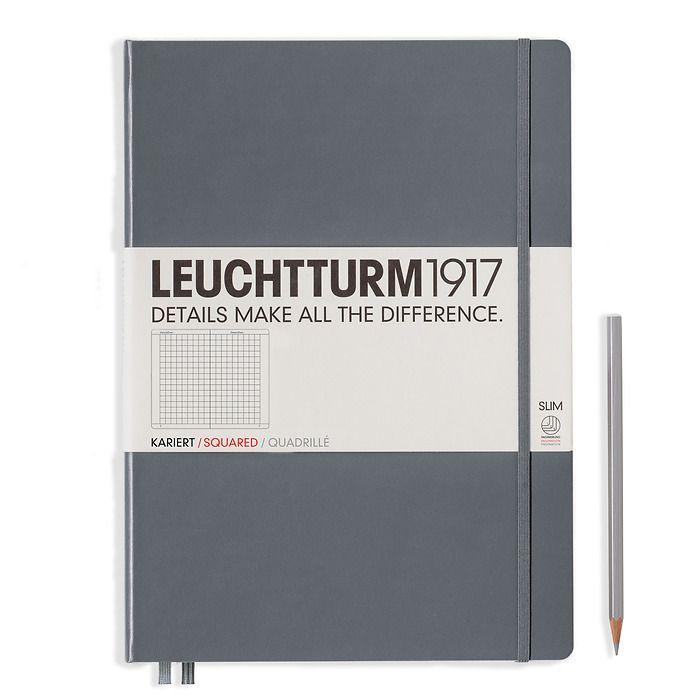 Notizbuch Master Slim (A4+), Hardcover, 123 nummerierte Seiten, Anthrazit, Kariert