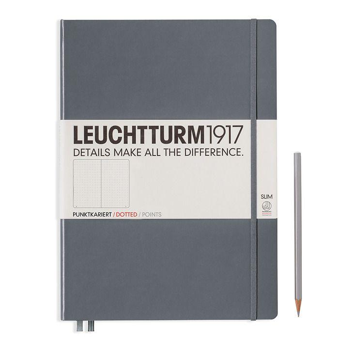 Notizbuch Master Slim (A4+), Hardcover, 123 nummerierte Seiten, Anthrazit, Dotted