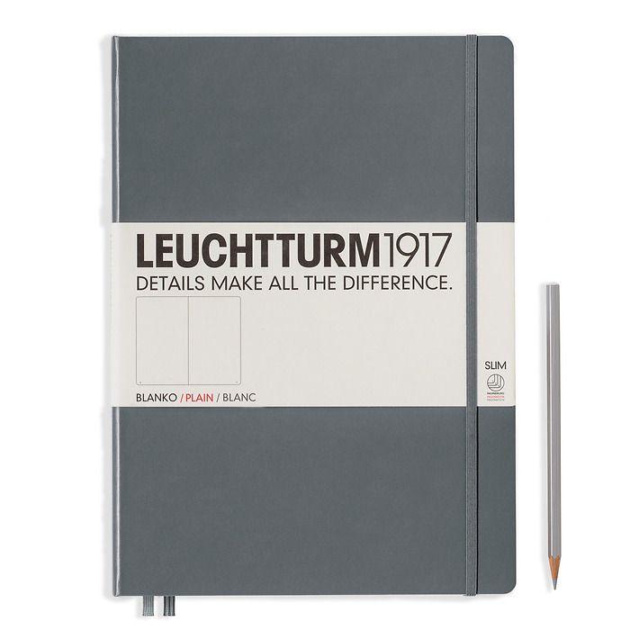 Notizbuch Master Slim (A4+), Hardcover, 123 nummerierte Seiten, Anthrazit, Blanko