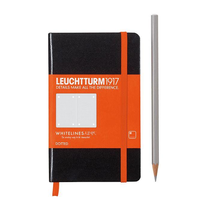 Notizbuch Pocket (A6), Hardcover, 185 num. Seiten, Schwarz,  Dotted, Whitelines Link®