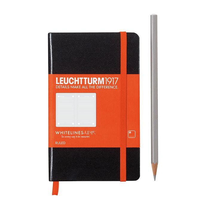 Notizbuch Pocket (A6), Hardcover, 185 num. Seiten, Schwarz,  Liniert, Whitelines Link®