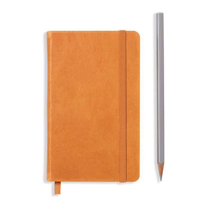 Notizbuch Pocket (A6), Echtleder, 187 nummerierte Seiten, Cognac, Kariert