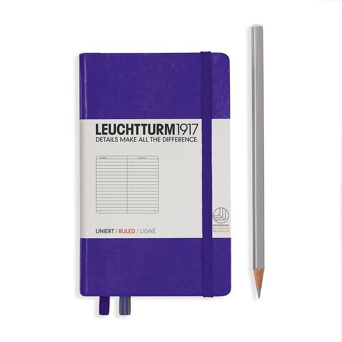 Notizbuch Pocket (A6), Hardcover, 187 nummerierte Seiten, Violett, Liniert
