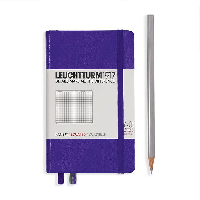 Notizbuch Pocket (A6), Hardcover, 187 nummerierte Seiten, Violett, Kariert