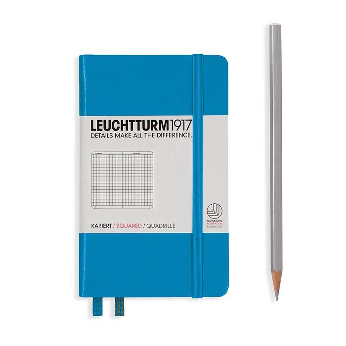 Notizbuch Pocket (A6), Hardcover, 187 nummerierte Seiten, Azur, Kariert