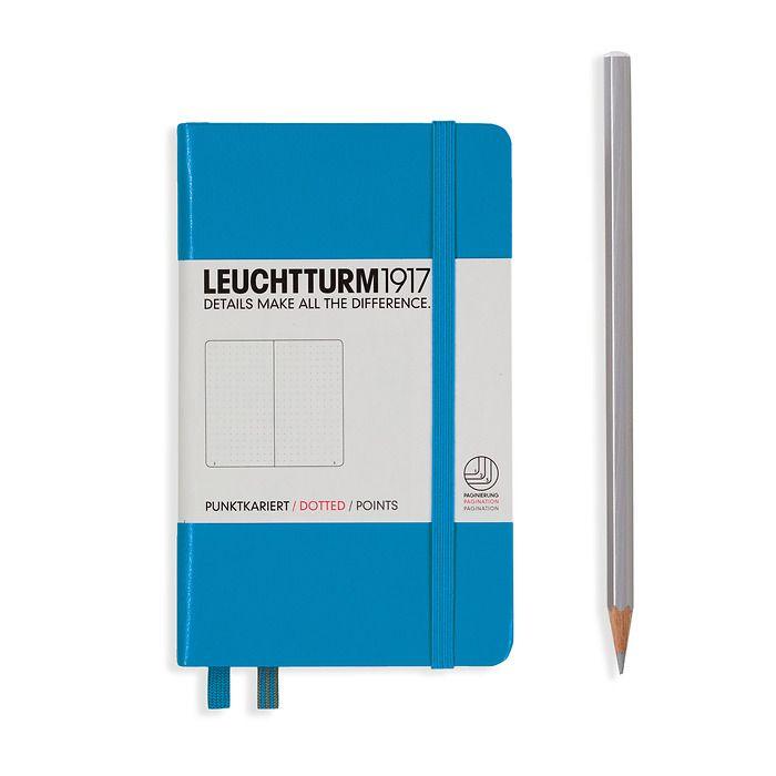 Notizbuch Pocket (A6), Hardcover, 187 nummerierte Seiten, Azur, Dotted