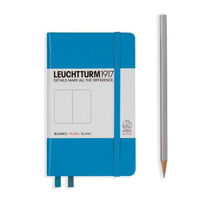Notizbuch Pocket (A6), Hardcover, 187 nummerierte Seiten, Azur, Blanko