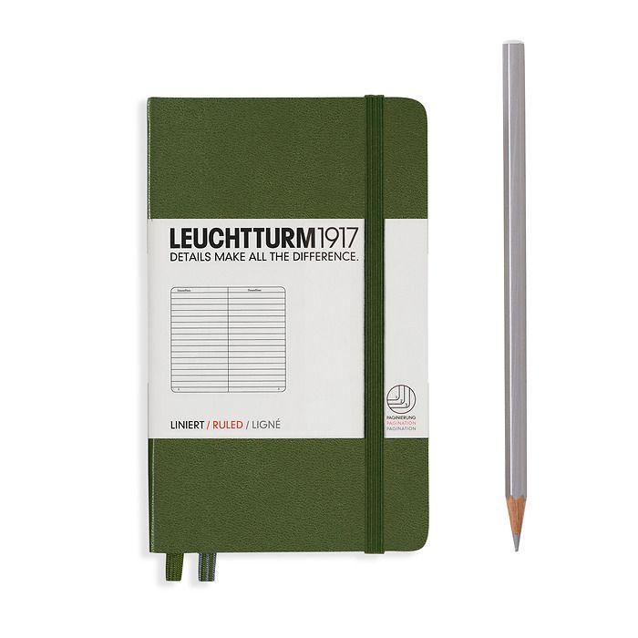 Notizbuch Pocket (A6), Hardcover, 187 nummerierte Seiten, Army, Liniert