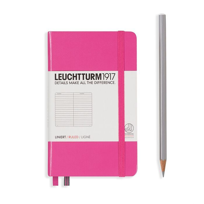 Notizbuch Pocket (A6), Hardcover, 187 nummerierte Seiten, New Pink, Liniert