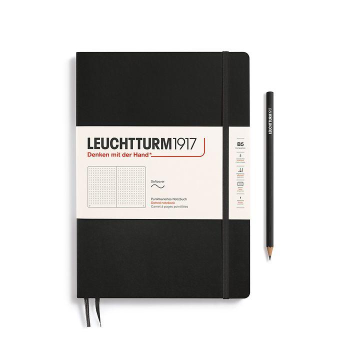 Notizbuch Composition (B5), Softcover, 123 nummerierte Seiten, Schwarz, Dotted